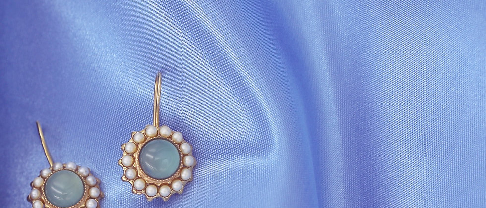 Round calcedony earrings