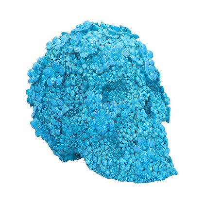Azure Afterlife Blue Floral Skull Ornament - 21cm