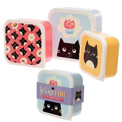 Set of 3 Lunch Boxes - Feline Fine Cat Design