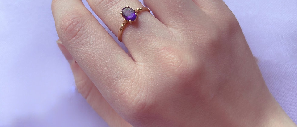 Splendid 18 kt gold and amethyst ring