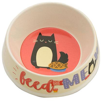 Bamboo Composite Feed Meow Feline Fine Cat Bowl - 17cm