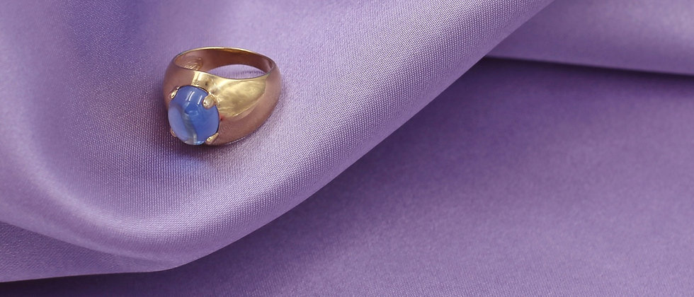 18kt gold-plated silver ring with iridescent stone