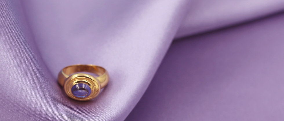18kt gold-plated oval blue ring t.56