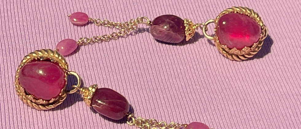 Ruby long handmade earrings