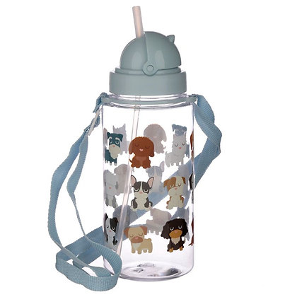 Reusable Plastic Water Bottle With Straw - Dog Squad Design