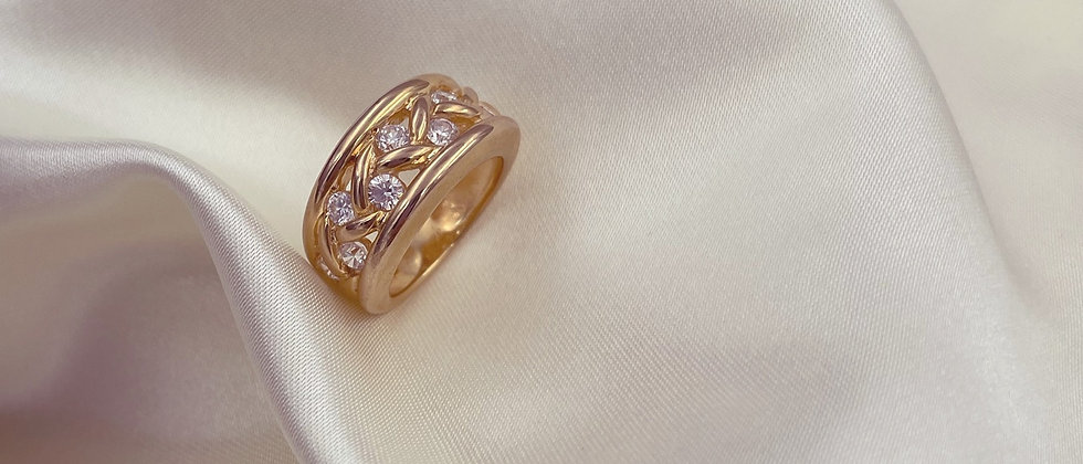 18kt gold-plated braided ring