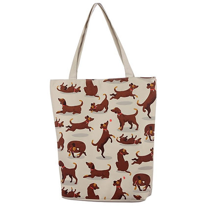 Catch Patch Dog Design Cotton Bag With Zip