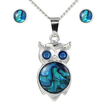 Owl Pendant & Stud Earrings Paua Shell Set