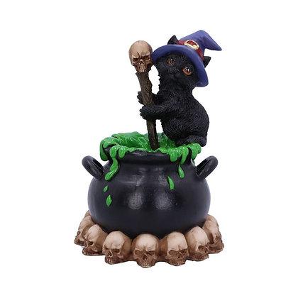 Spook Witches Familiar Black Cat and Cauldron Ornament - 12cm