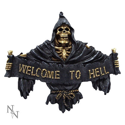 Welcome To Hell Reaper Wall Plaque - 25cm