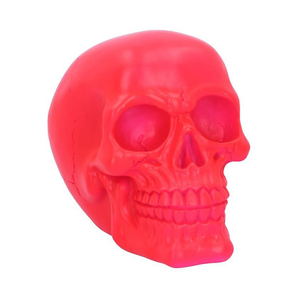 Psychedelic Fluorescent Pink Skull Ornament - 15.5cm