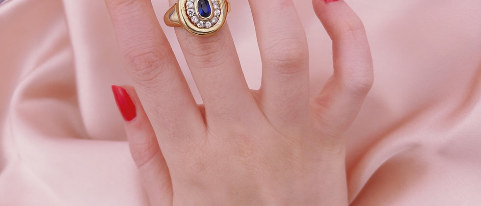 18 kt gold-plated blue signet ring