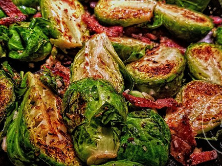 Tina's Pan-Fried Bacon Brussel Sprouts