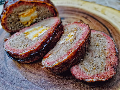 Bacon Wrapped and Cheese Stuffed Smoked Meatloaf