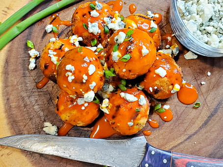 Grilled Buffalo Chicken Meatballs