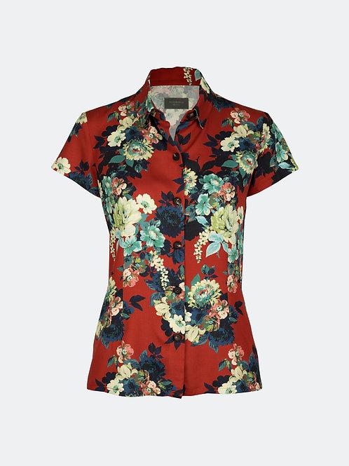 Hemdbluse - Blüten rot