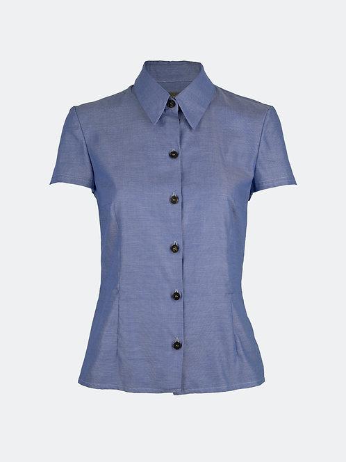 Hemdbluse - blau Meliert