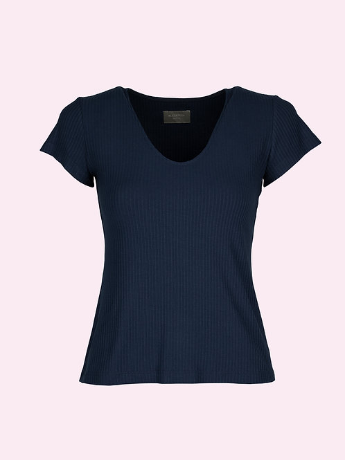 V-Shirt - Gerippt blau