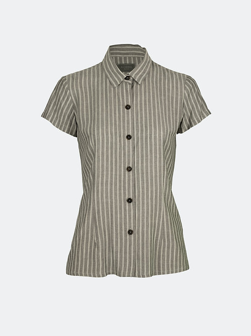 Hemdbluse - Streifen grau