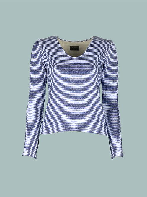 V-Shirt - Streifen blau