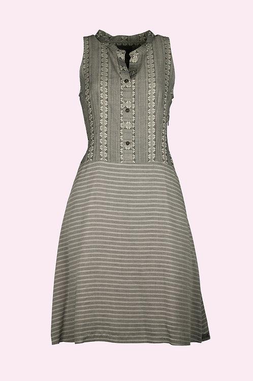 Kleid Marie - Streifen/Blumen grau