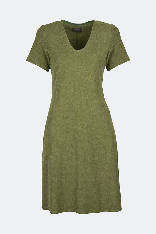 V-Kleid - Frottee oliv