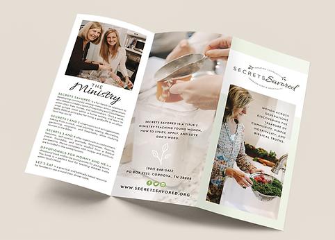 Secrets Savored brochure design mock up
