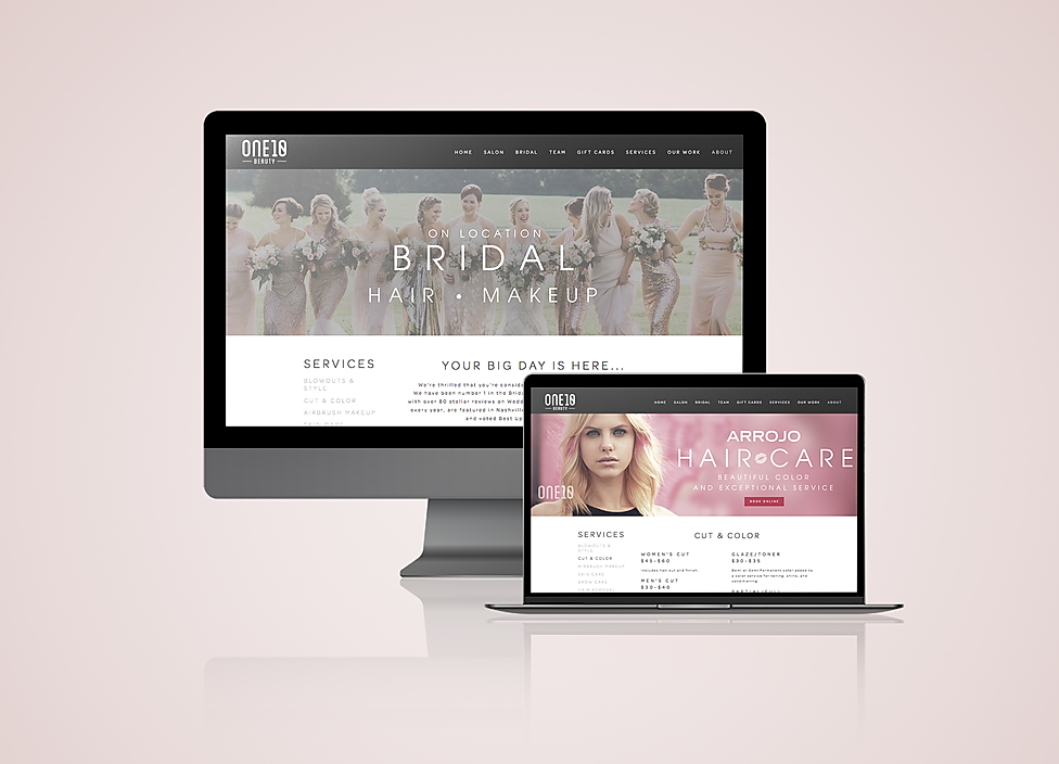 One10 Beauty website design mock up