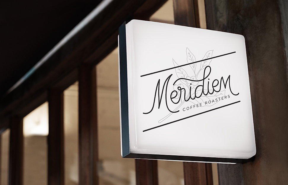 Meridiem Coffee Roasters signage mock up sample