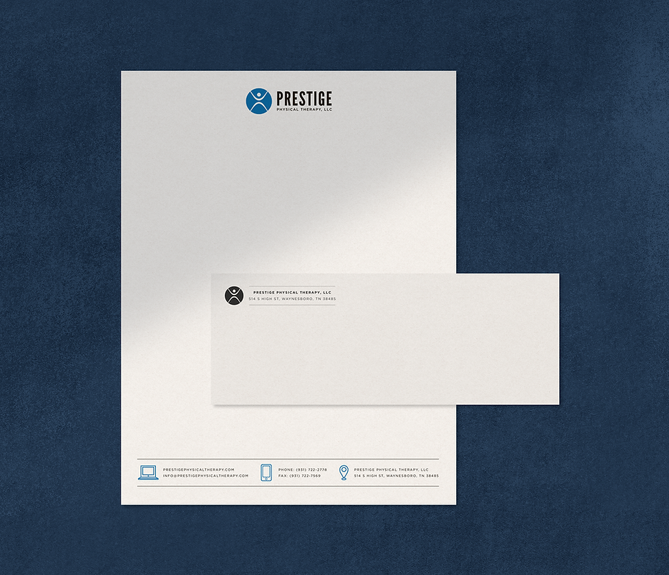 Prestige Physical Therapy letterhead and envelope design