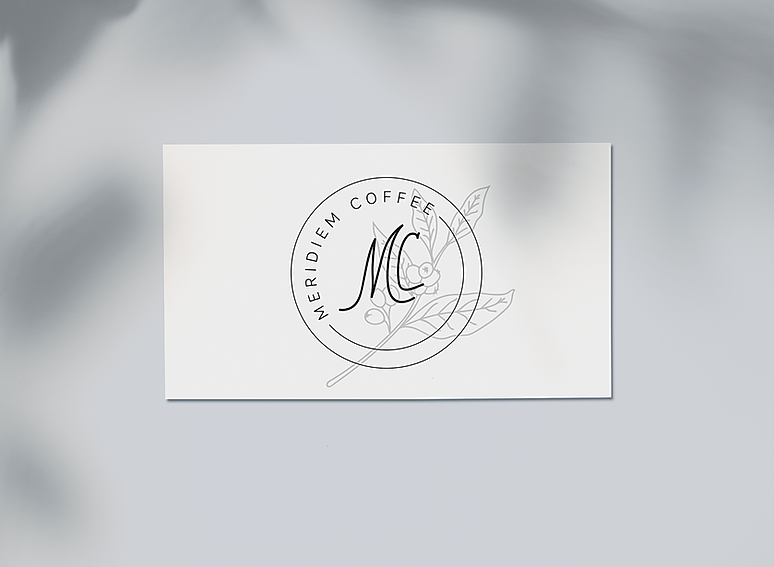 Meridiem Coffee Roasters business card design mock up