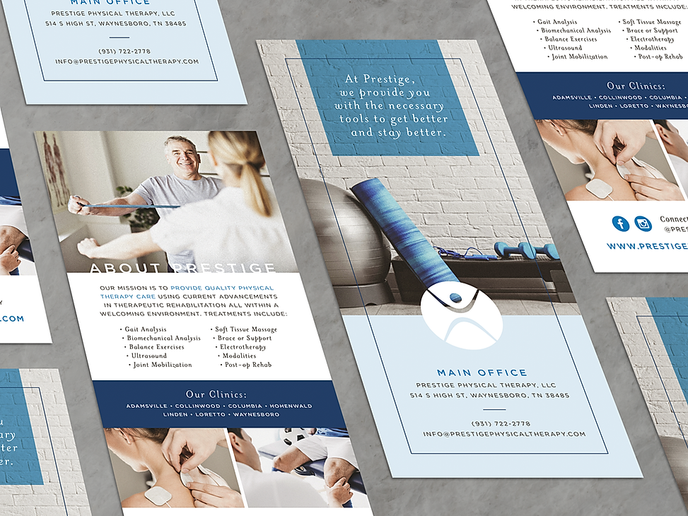 Prestige Physical Therapy rack card print design