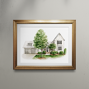 Watercolor house portrait painting