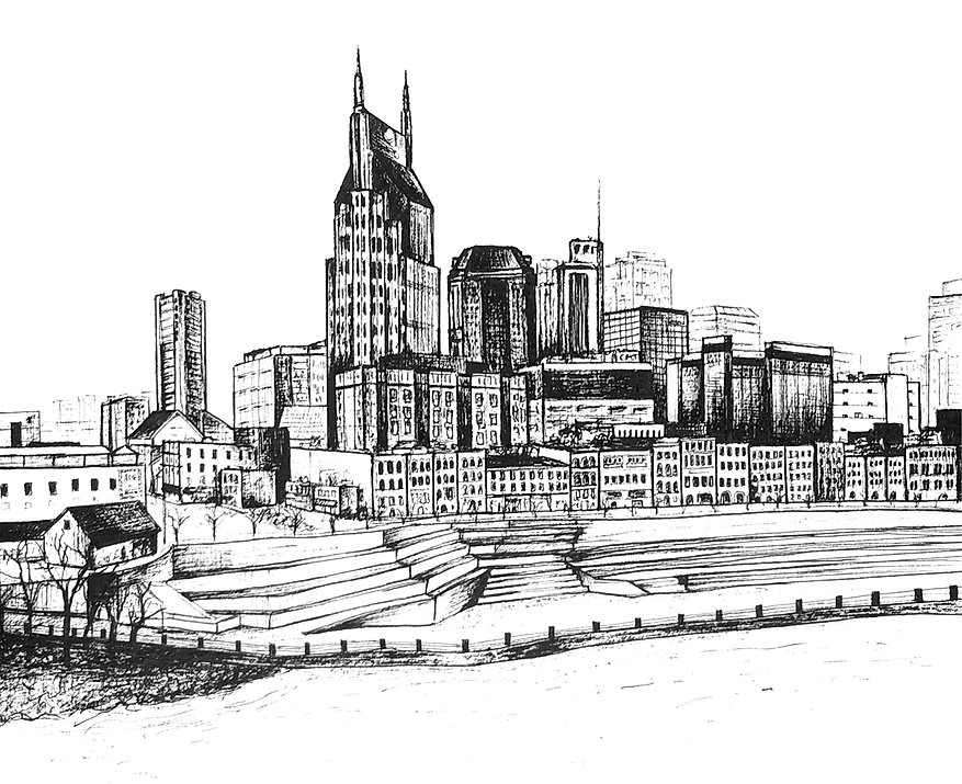 Pen art print of Nashville