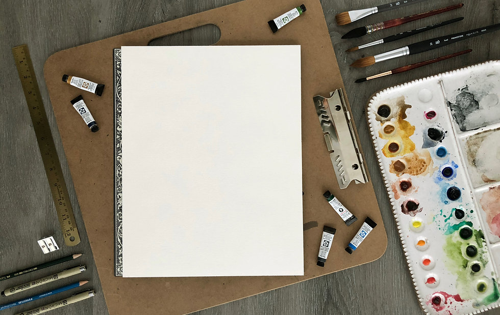 Watercolor and pen art supplies from Studio B