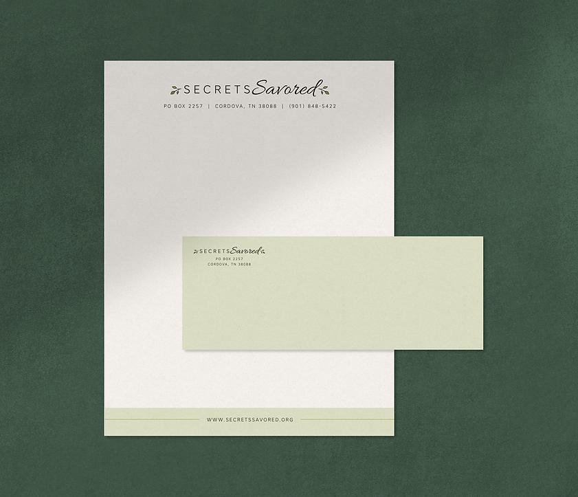 Secrets Savored Letterhead and Envelope design