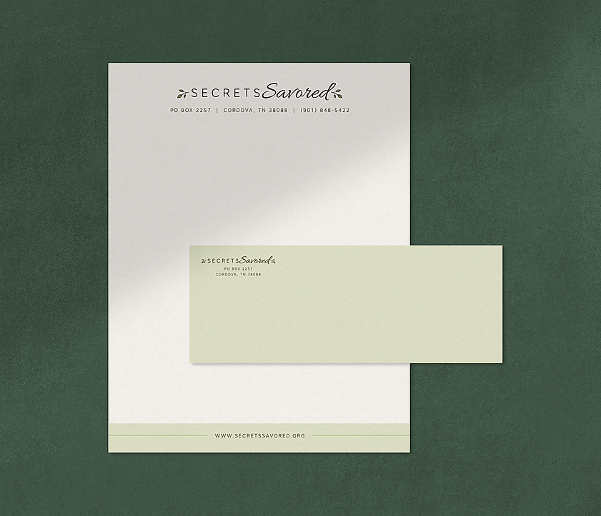 Secrets Savored Letterhead and Envelope design
