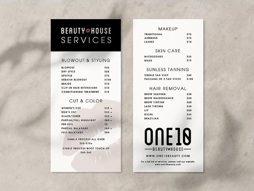 One10 Beauty pricing menu design