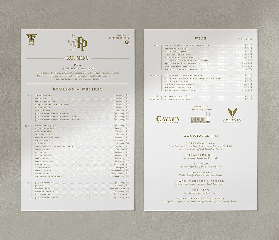 Persimmon Pub bar menu design