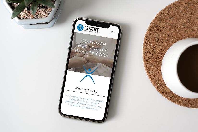 Prestige website mobile design mock up