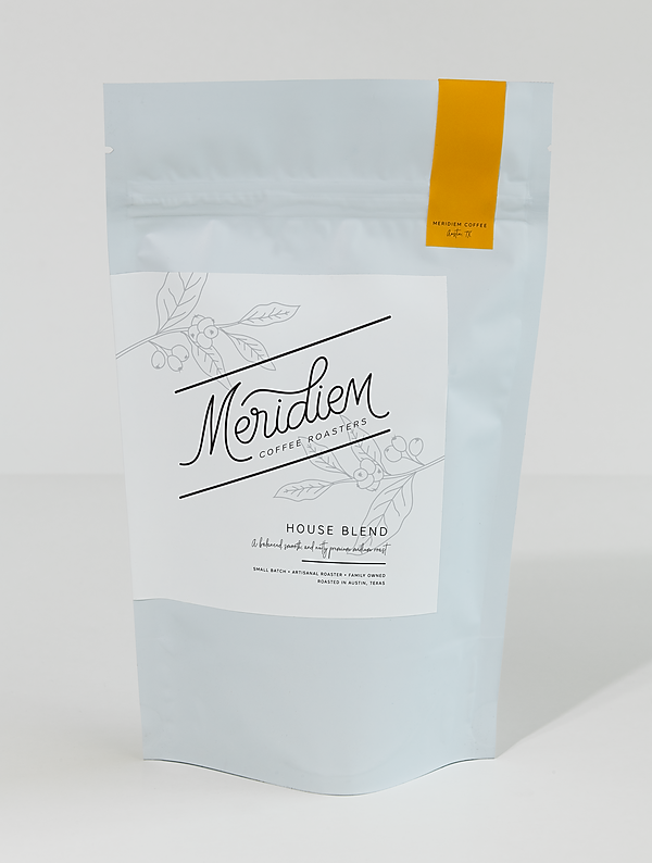 Meridiem Coffee Roasters bag sample mock up