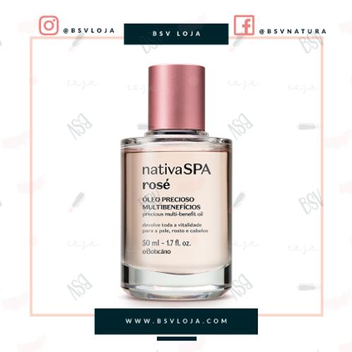 Óleo Precioso Multibenefícios para rosto, olhos e cabelo Nativa Spa Rosé, 50 ml