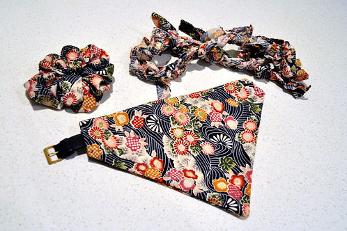 Doggie Bandana + Scrunchie and Toy - Blossom Magic