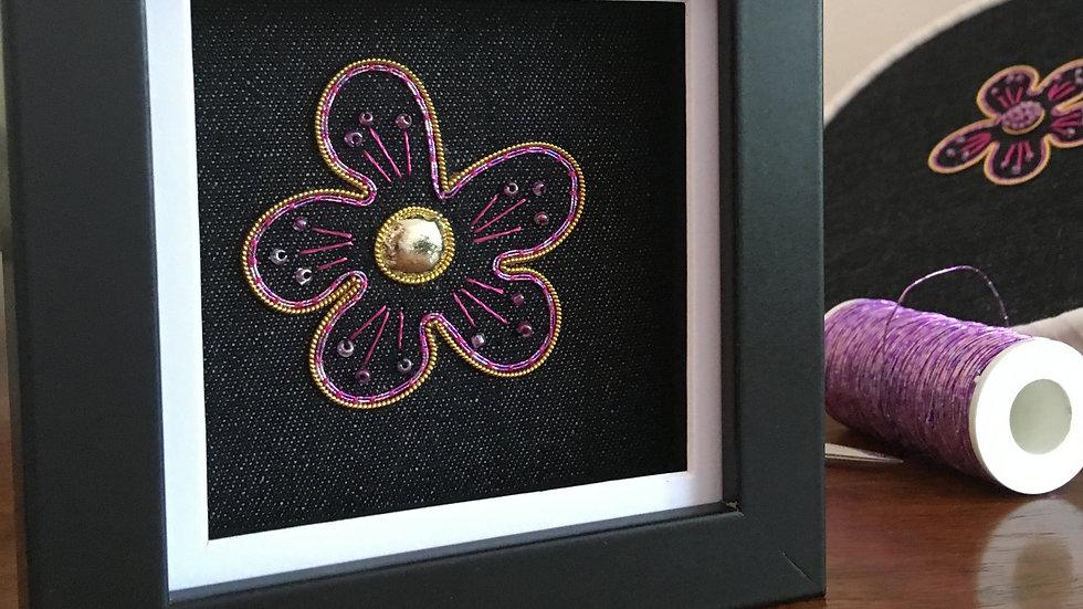 Goldwork Pink Flower