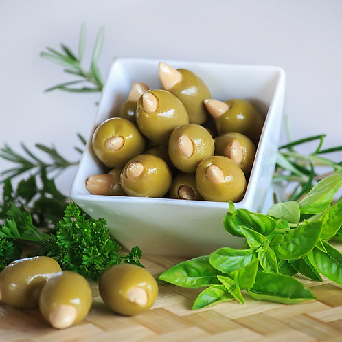 Olives vertes bio farcies à l'ail / 200gr