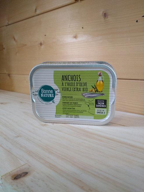 Anchois entier a l'huile d'olive bio / 115 gr