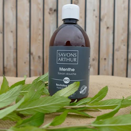 Flacon de 300ml de Savon bio à la menthe poivrée – fraîcheur intense