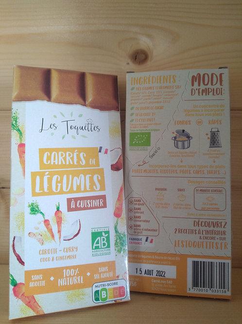 Toquettes bio : Carotte, curry, coco et gingembre/ 75gr