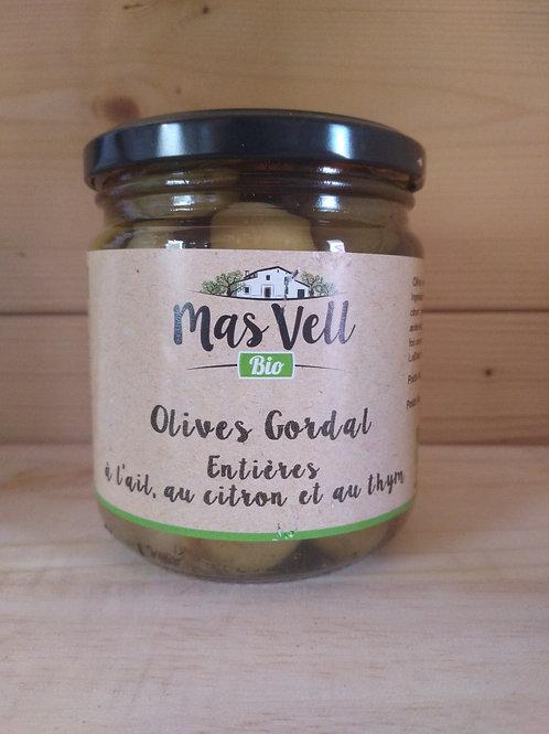 Olives vertes bio Gordal à l'ail, au citron et au thym / 350gr