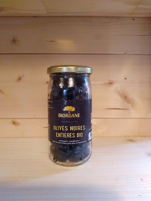 Olives noires entières en bocal Bio / 230 gr